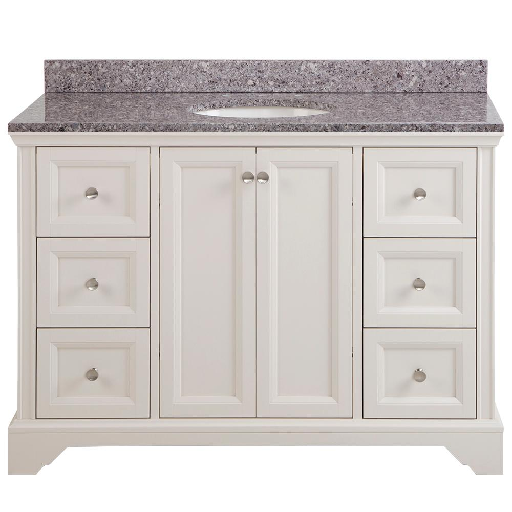 Home Decorators Collection Stratfield 49 in. W x 22 in. D Bathroom Vanity in Cream with Stone Effect Vanity Top in Mineral Gray with White Sink