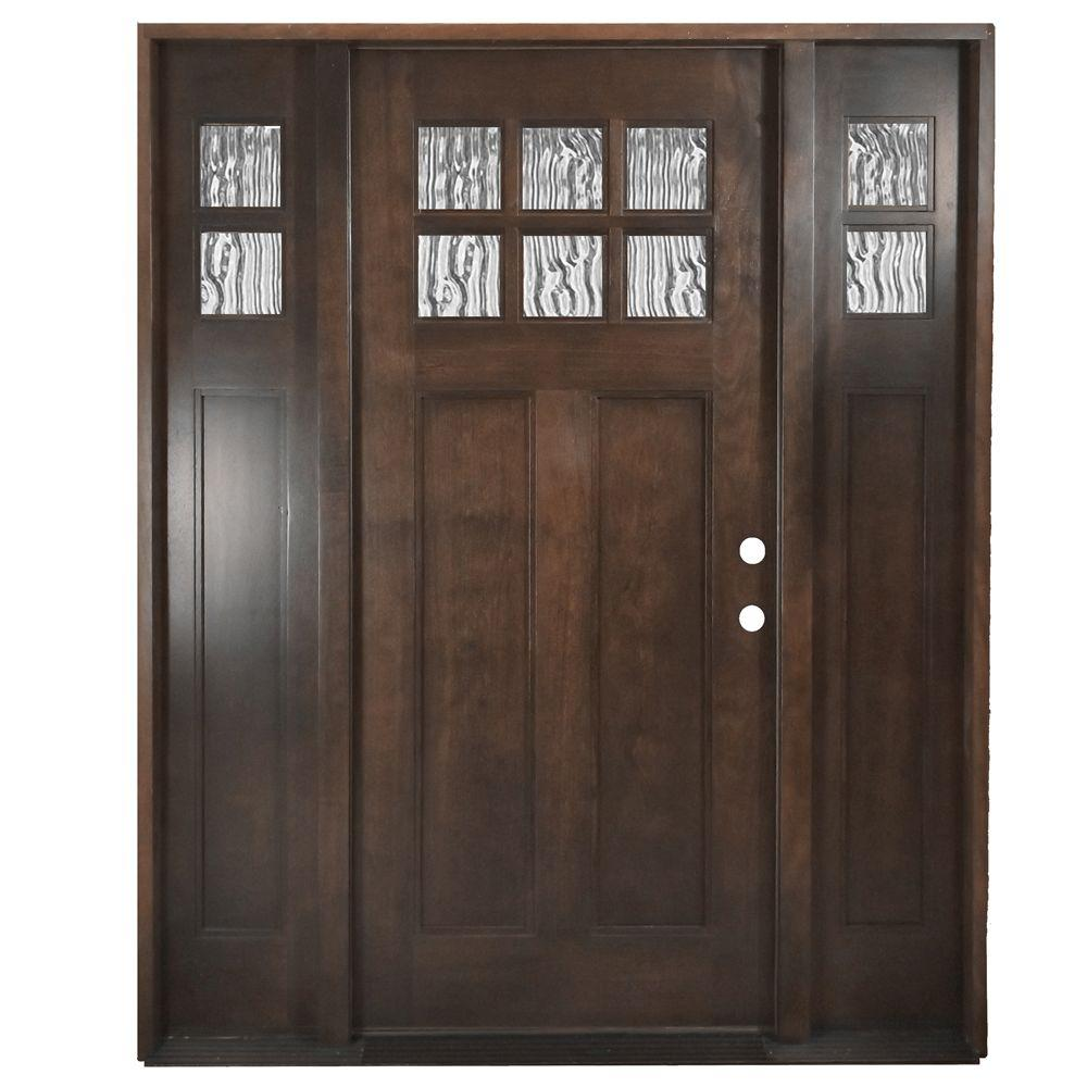 Steves & Sons 60 in. x 80 in. Shaker 6 Lite Stained Mahogany Wood Prehung Front Door with Sidelites