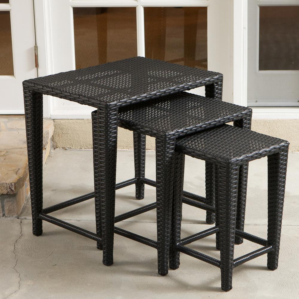 Black Wicker Outdoor Side Table (Set of 3)