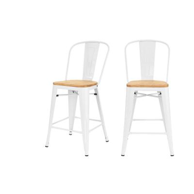 Finwick White Metal Counter Stool with Back and Wood Seat (Set of 2) (17.72 in. W x 38.78 in. H)