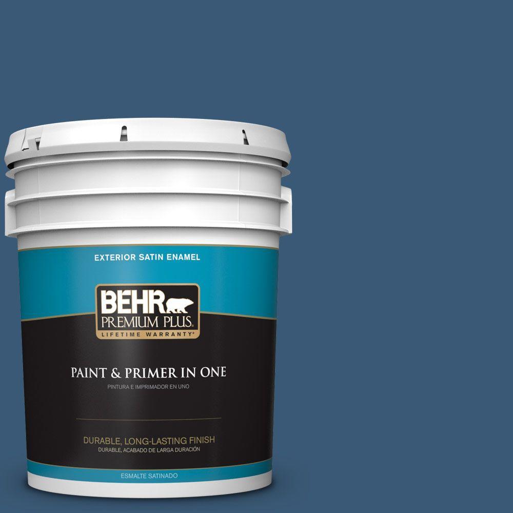 BEHR Premium Plus 5-gal. #M500-6 Express Blue Satin Enamel Exterior Paint