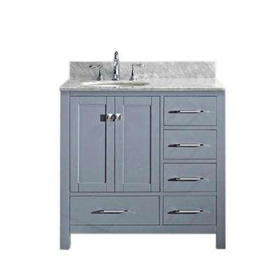 Caroline Avenue 36 in. W Bath Vanity in Gray with Marble Vanity Top in White with Round Basin
