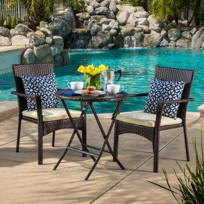 Elba Brown 3 Piece Wicker Round Outdoor Bistro Set With Cream Cushions