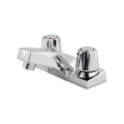 Pfirst Series 4 in. Centerset 2-Handle Bathroom Faucet with Metal Knobs in Polished Chrome