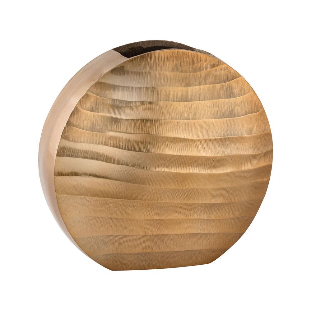 Faux Bois 10 in. Aluminum Decorative Vase in Gold