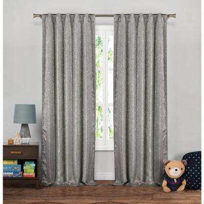 Maddie 38 in. W x 96 in. L Polyester Window Panel in Grey