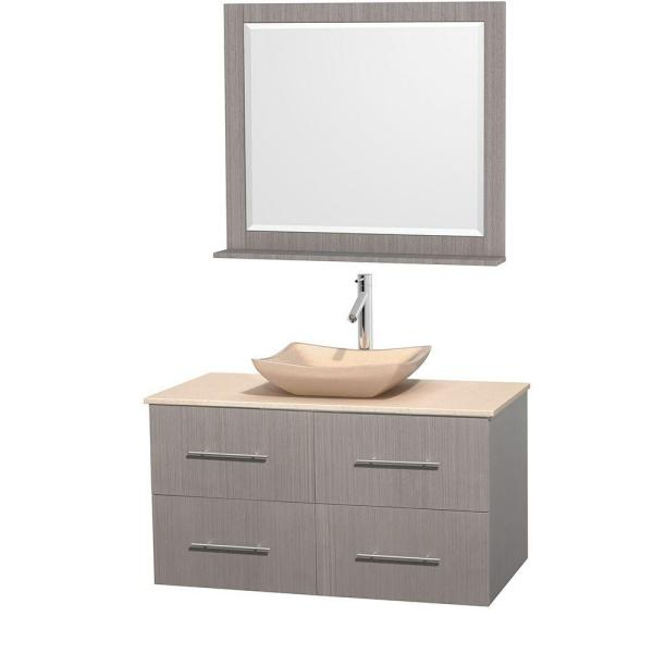 Wyndham collection centra 42 in vanity in gray oak with - Best place to buy bathroom vanities online ...