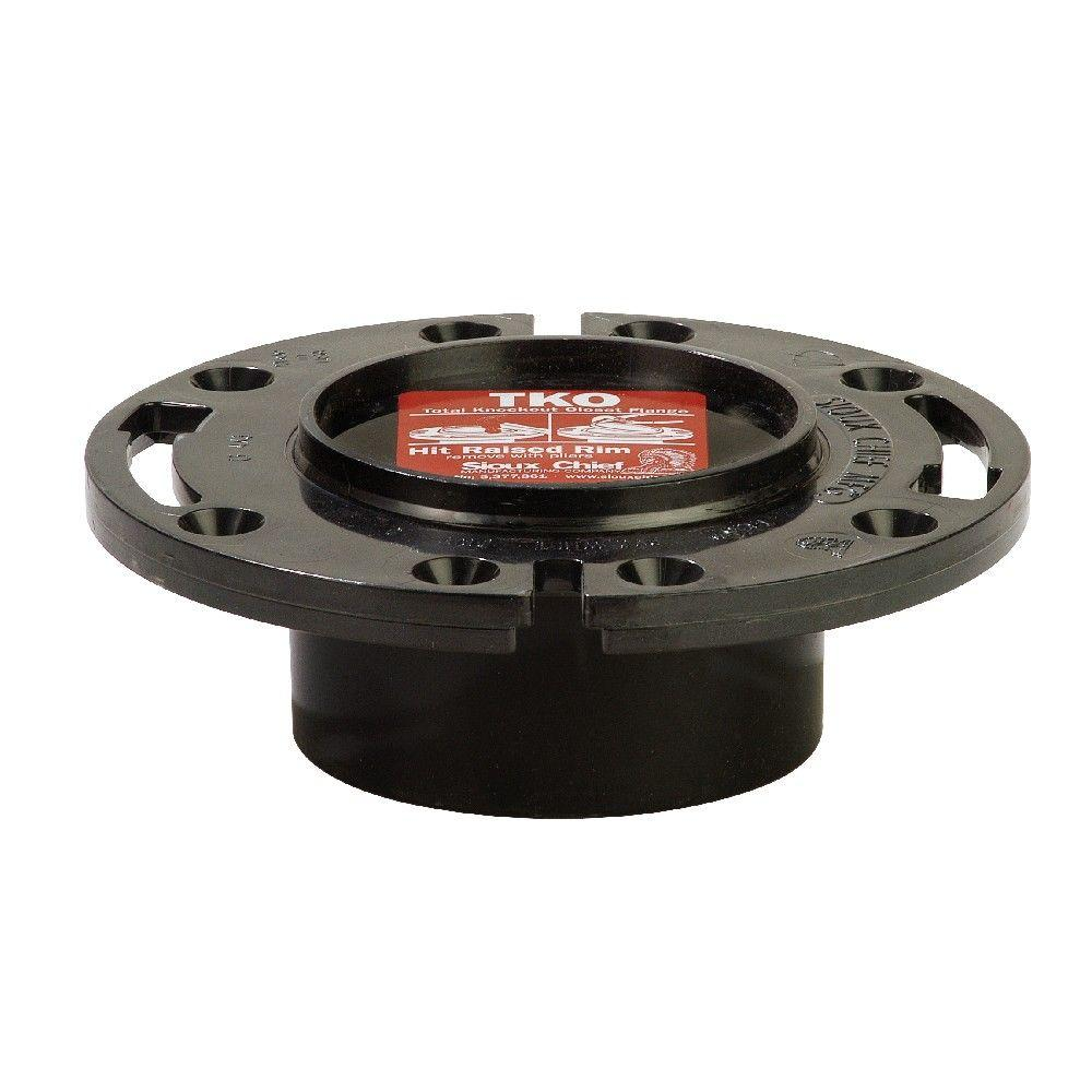 Sioux Chief TKO 3 in. x 4 in. Black ABS Closet Flange