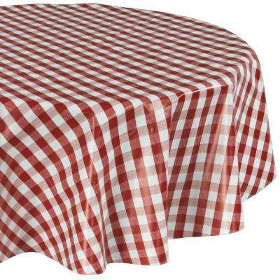 55 in. Red Round Indoor and Outdoor Sunflower Design Table Cloth for Dining Table