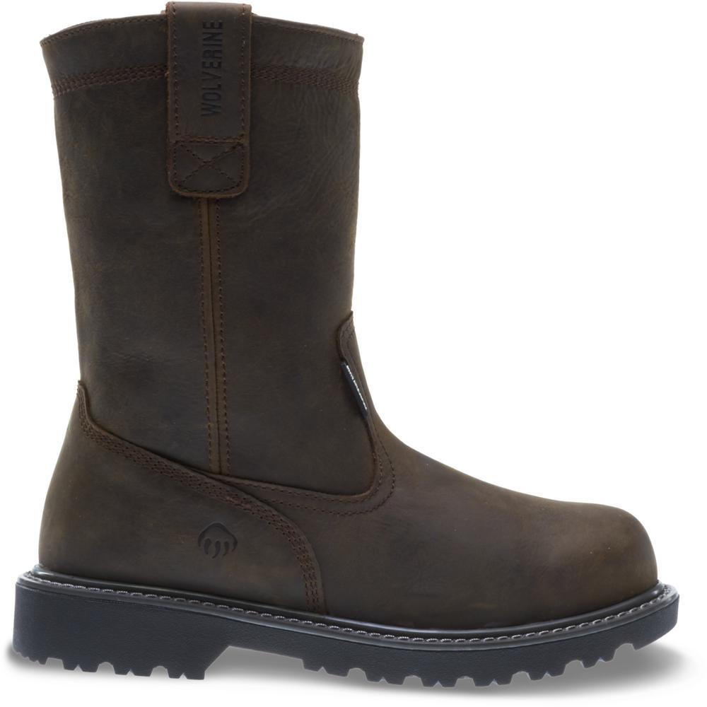 "Men's Floorhand 10EW Dark Brown Full-Grain Leather Waterproof Steel Toe 10"" Wellington"