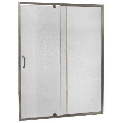 Cove 48 in. W x 69 in. H Semi-Frameless Pivot Shower Door and Fixed Panel in Brushed Nickel with C-Handle and Knob