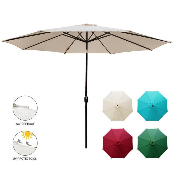 11 ft. Market Patio Umbrella Table with Push Button Tilt and Crank in Beige