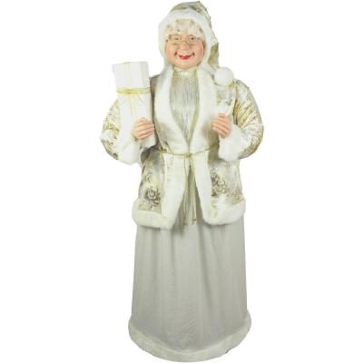 5 ft. Christmas Standing Mrs. Claus Holding a Gift and Wearing a Gold Brocade Jacket with Fur Trim