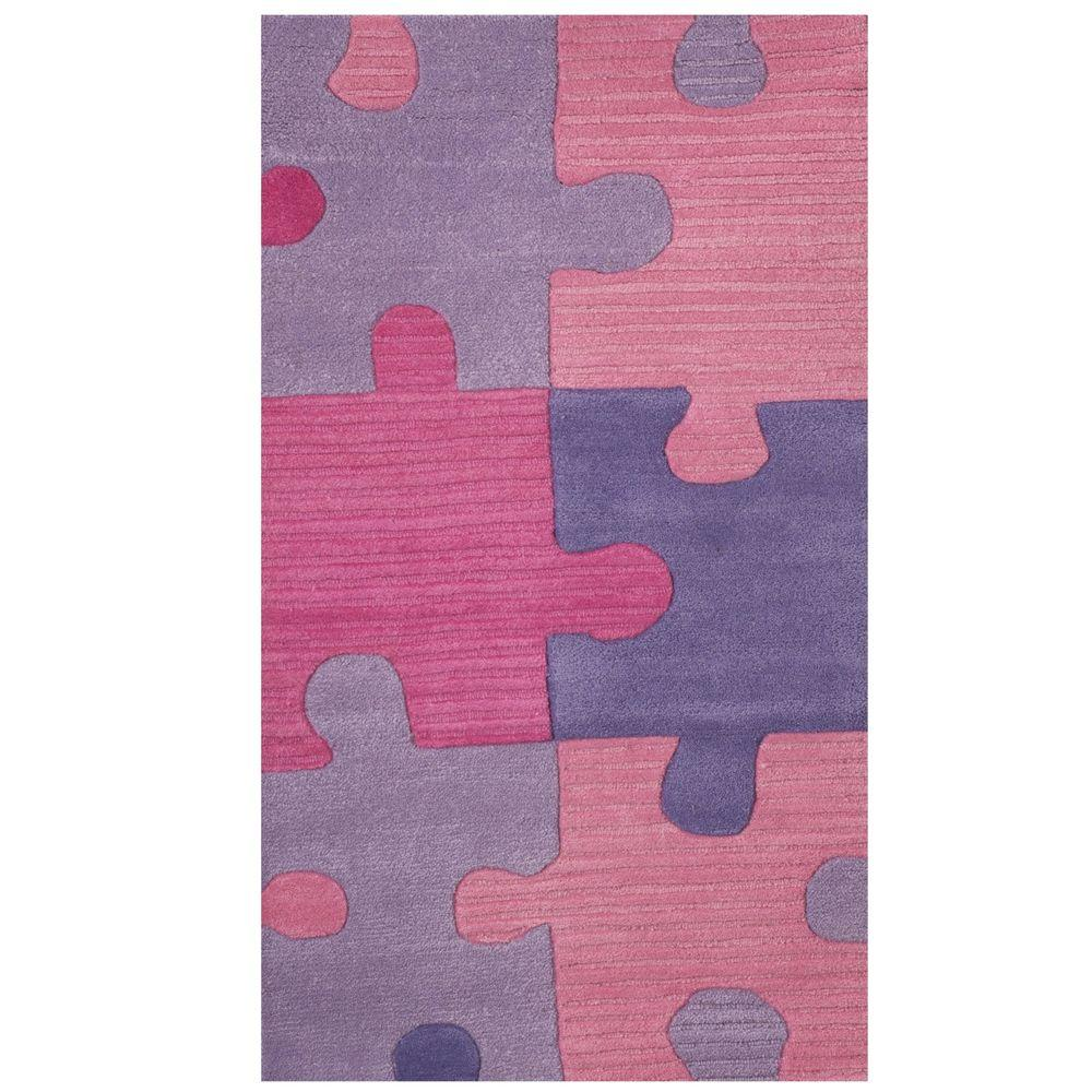 Sams International Puzzles Pink and Lavender 3 ft. x 5 ft. Area Rug