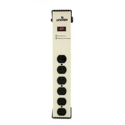 15 Amp Heavy Duty Surge Protected 6-Outlet Power Strip, 1330 Joules, On/Off Switch, 6 Foot 14-3 SJT Cord, Beige