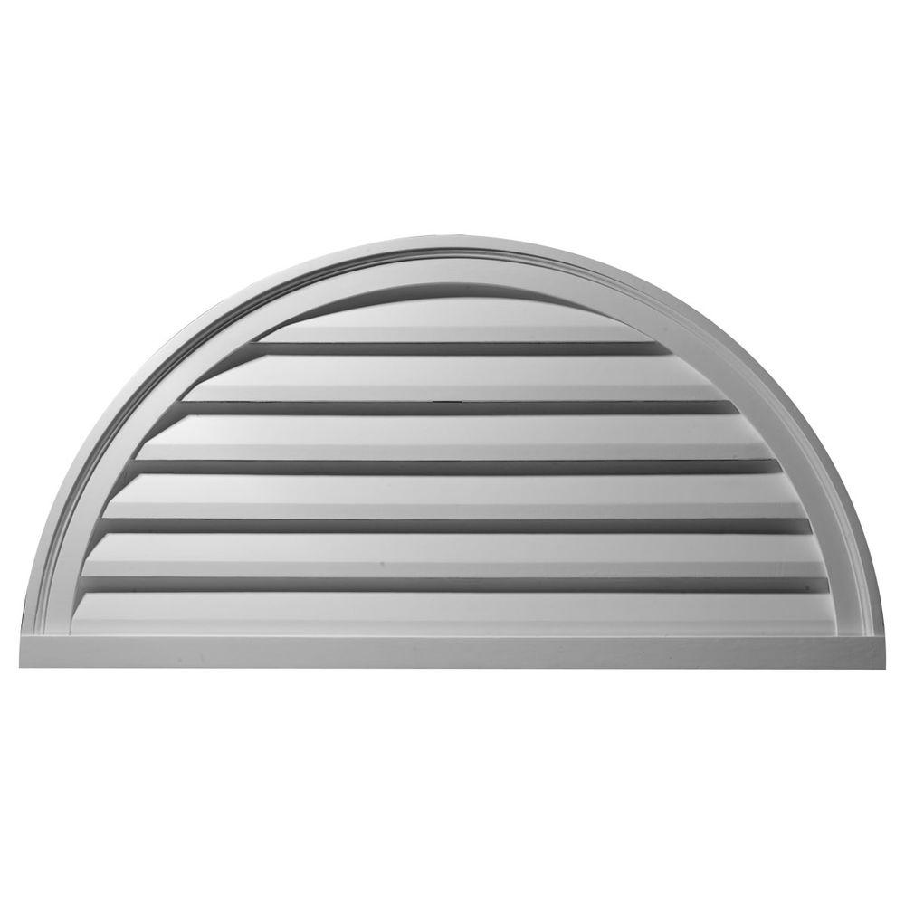 Ekena Millwork 2 in. x 48 in. x 24 in. Functional Half Round Gable Louver Vent