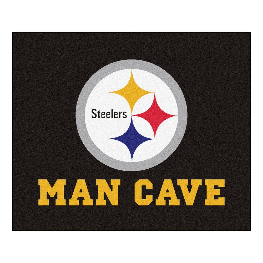 Fanmats Pittsburgh Steelers Black Man Cave 5 Ft X 6 Ft Area Rug