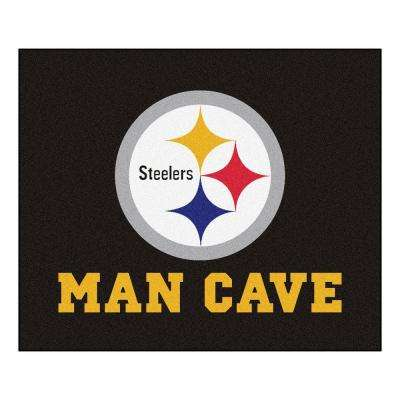 Pittsburgh Steelers Black Man Cave 5 ft. x 6 ft. Area Rug