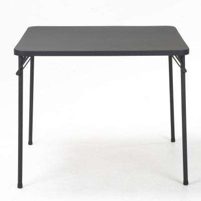 34 in. Black Metal Square Folding Card Table