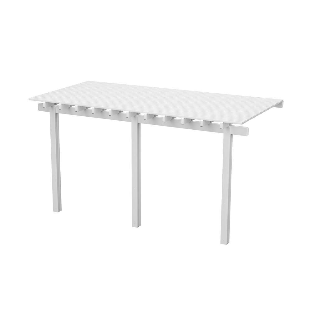 Integra 14 Ft X 10 White Aluminum Attached Open Lattice Pergola With 3