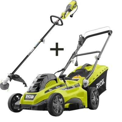 16 in. 13 Amp Corded Electric Walk Behind Push Mower and 10 Amp String Trimmer