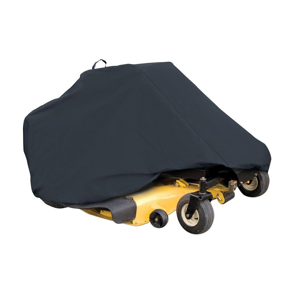 Classic Accessories Zero-Turn Lawn Mower Cover The Classic Accessories zero turn mower cover provides all-weather protection for your mower. It is made of Weather-X fabric with water-resistant backing for weather and abrasion protection. The cover protects your mower against UV damage, rain, dirt, birds and tree sap.