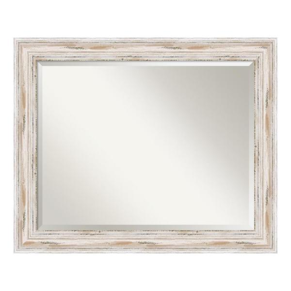 Beautiful White Washed Wooden Wall Mirror Shabby Chic Distressed Style.