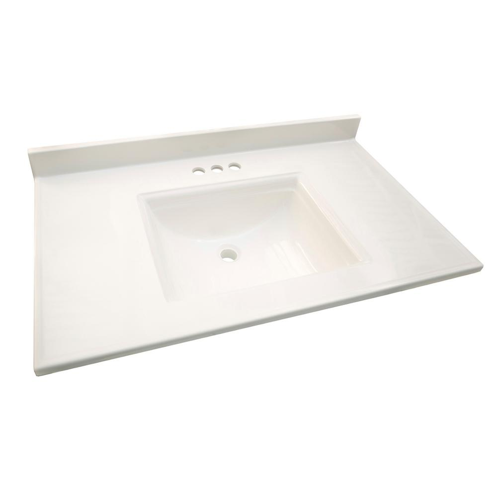 Cultured Marble Vanity Top In Solid White With Basin