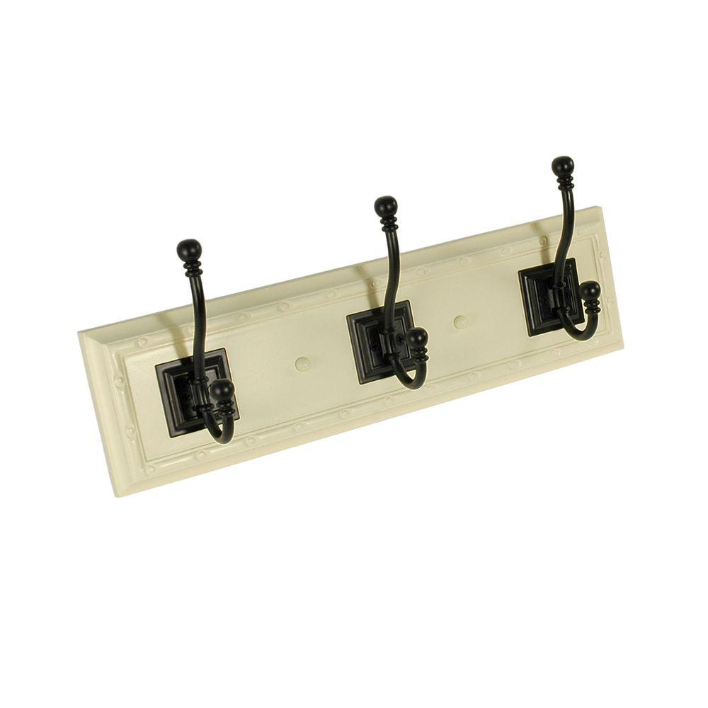 Nystrom Nystrom Hook Rack 15 in. White Board with 3 Black Antique Hooks