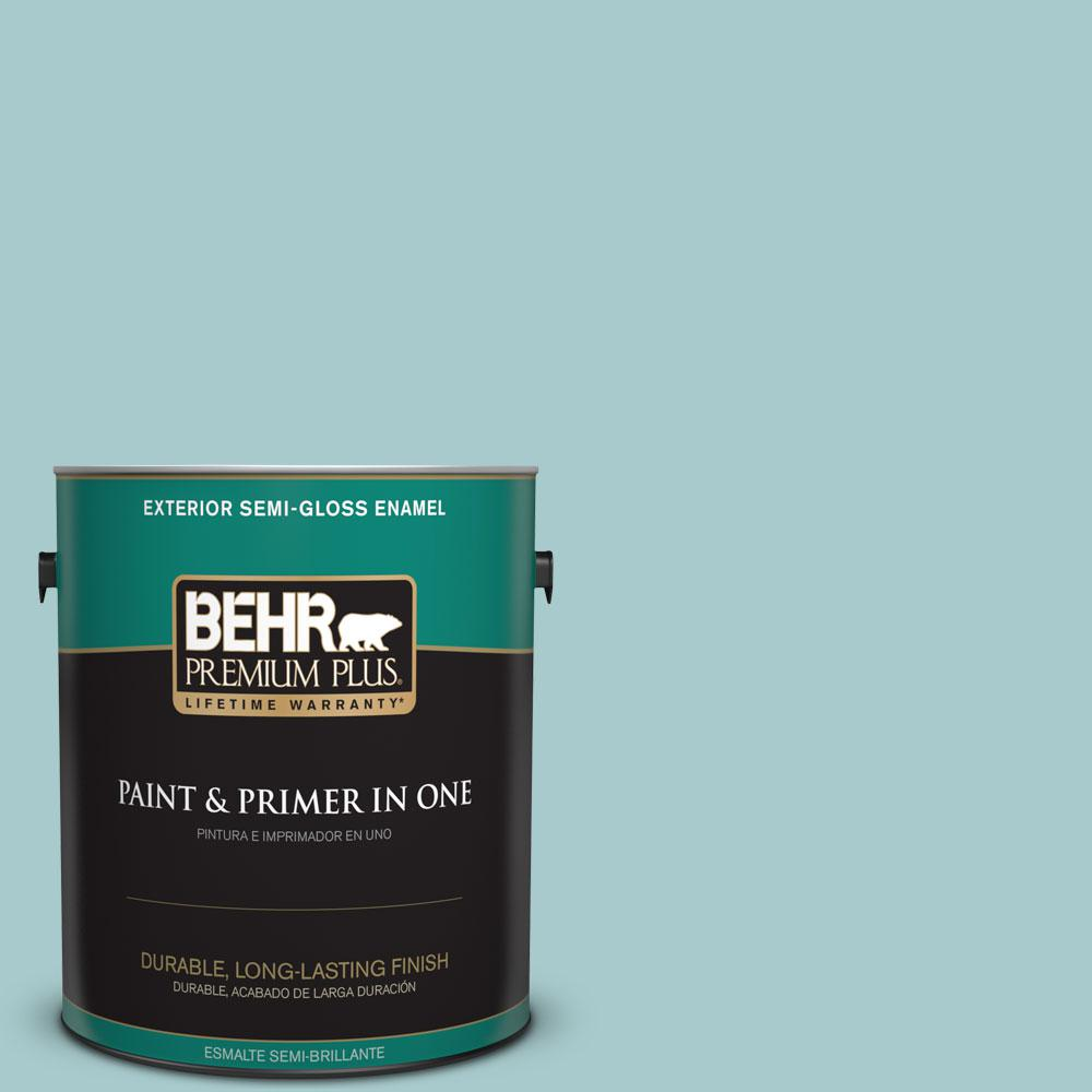 BEHR Premium Plus 1-gal. #PMD-95 Coastal Surf Semi-Gloss Enamel Exterior Paint