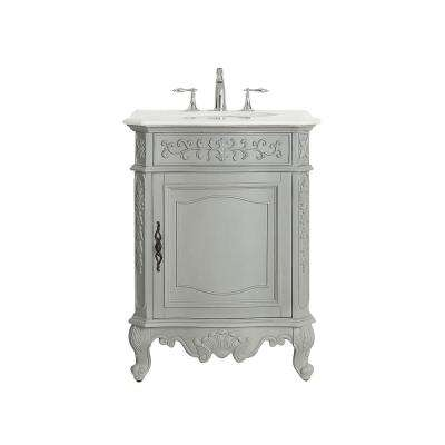 Winslow 26 in. W x 22 in. D Vanity in Antique Gray with Marble Vanity Top in White with White Basin