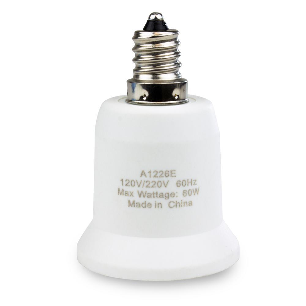 Candelabra To Medium Base E12 E26 Lamp Adapter