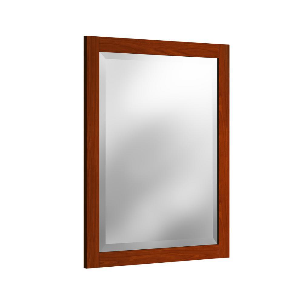 24 in. W x 30 in. H Beveled Vanity Mirror in Chestnut