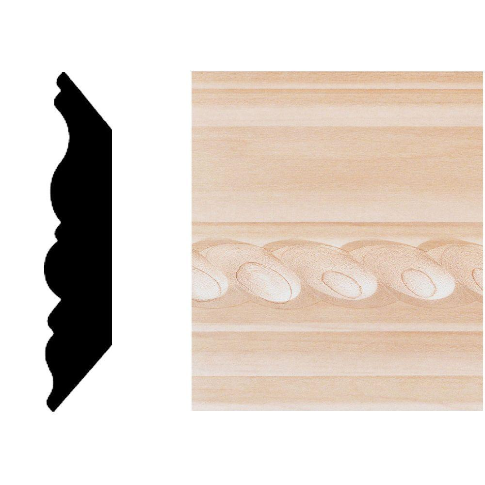 House of Fara 3/4 in. x 3-3/4 in. x 8 ft. Maple Rope Crown Moulding-DISCONTINUED