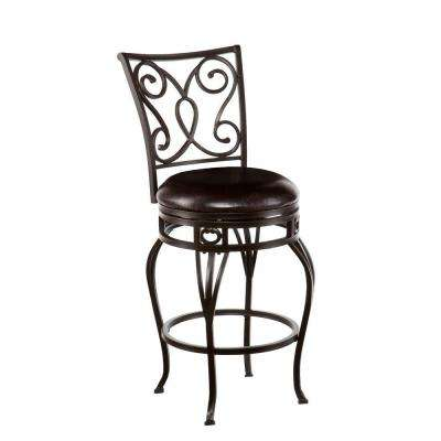 Gabriel 25.25 in. Hammered Bronze Swivel Cushioned Bar Stool