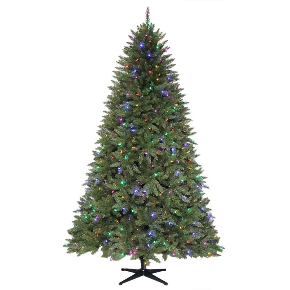 Martha Stewart Living 7.5 ft. Pre-Lit Dual LED Matthew Fir Quick-Set Artificial Christmas Tree with Clear and Multi-Color Lights