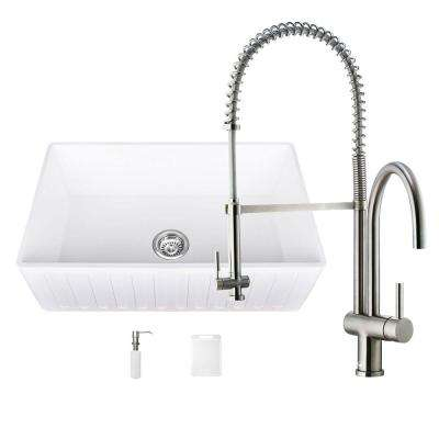 All-in-One Matte Stone Farmhouse 36 in. 0-Hole Kitchen Sink and Dresden Stainless Steel Faucet Set