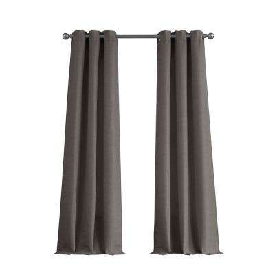 Raw Faux Silk Grommet 76 in. x 96 in. Curtain Panel Pair in Charcoal