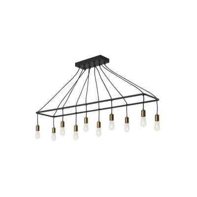 Tae 52 in. W 10-Light Black Modern Industrial Island Linear Chandelier with Aged Brass Socket Cups and Adjustable Cords