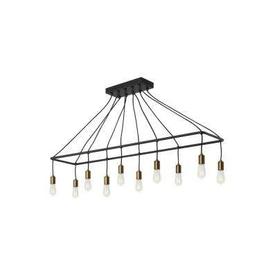 Tae 10-Light Black/Aged Brass Chandelier with LED Bulbs