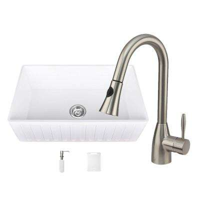 All-in-One Matte Stone Farmhouse 30 in. 0-Hole Kitchen Sink and Aylesbury Stainless Steel Faucet Set