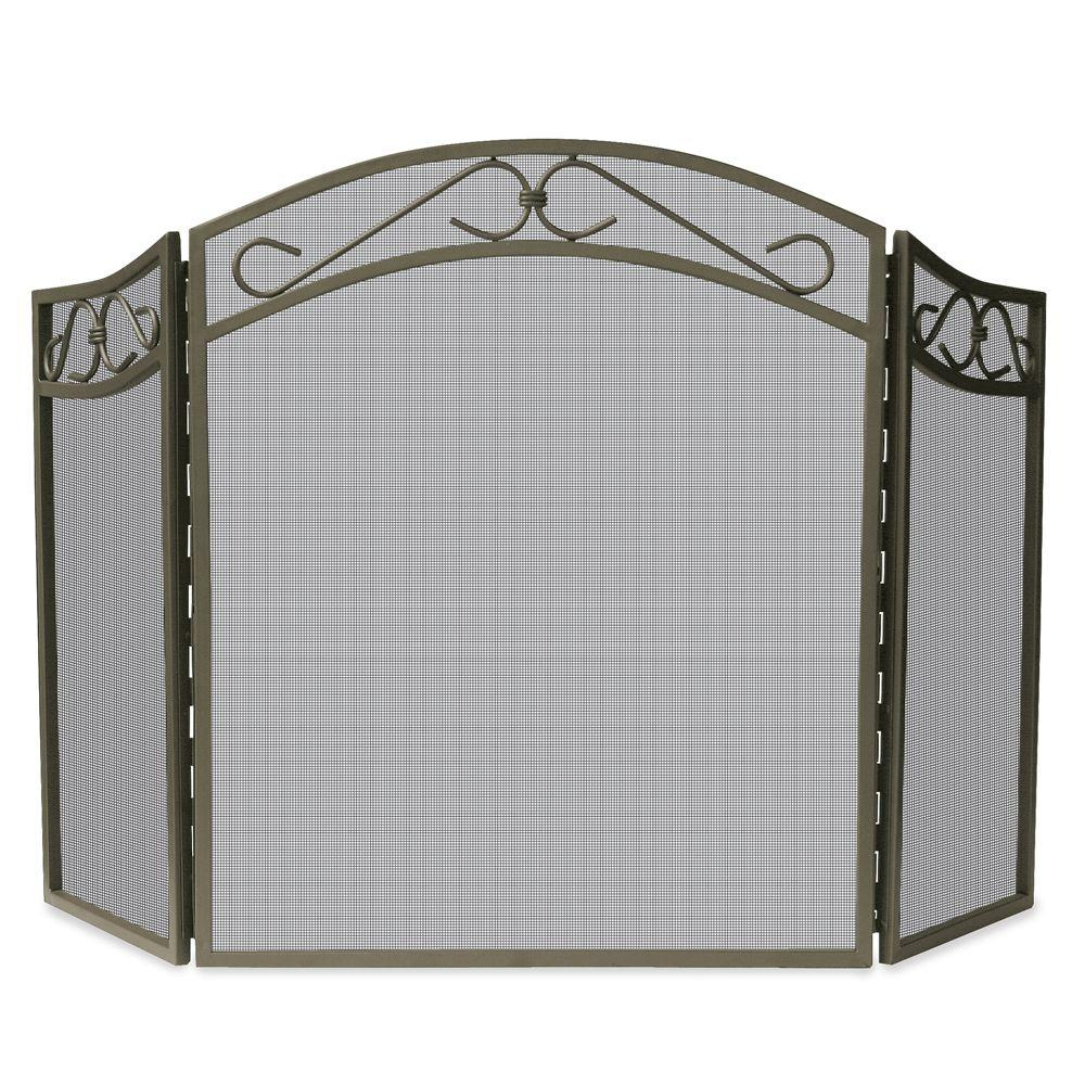 UniFlame Bronze Wrought Iron 3 Panel Fireplace Screen With Decorative Scroll