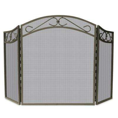 Bronze Wrought Iron 3-Panel Fireplace Screen with Decorative Scroll