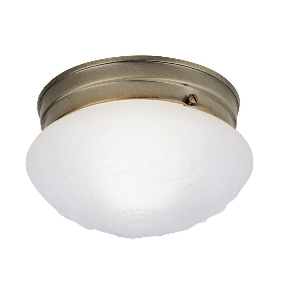 1 Light Ceiling Fixture Antique Br Interior Flush Mount With Satin White Gl Design