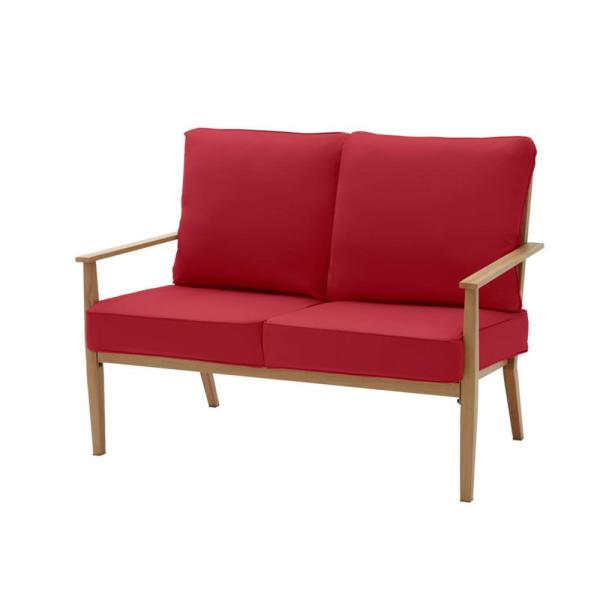 Alderton Brown Steel Outdoor Patio Loveseat with CushionGuard Chili Red Cushions
