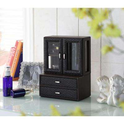 12 in. Brown Leather Wicker Pattern Tempered Glass Jewelry Case