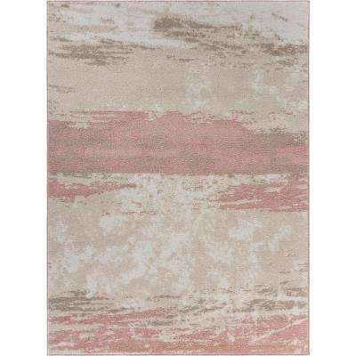 Meadow Abstract Ivory / Blush 7 ft. 9 in. x 9 ft. 5 in. Brush Stroke Area Rug