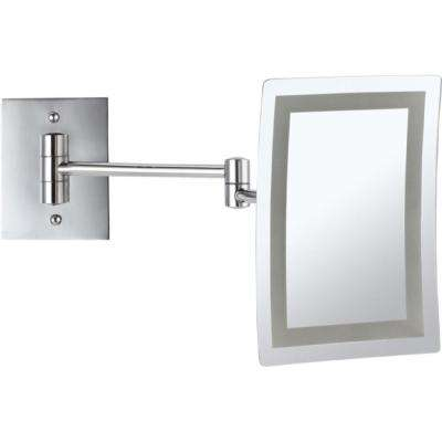 Glimmer 6.3 in. x 8.7 in. Wall Mounted LED 3x Rectangle Makeup Mirror in Chrome Finish