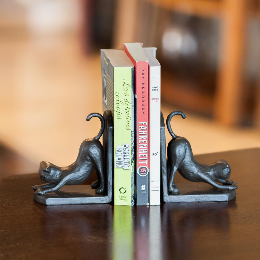 Stretching Cats Dark Brown Cast Iron Bookends (Set of 2)