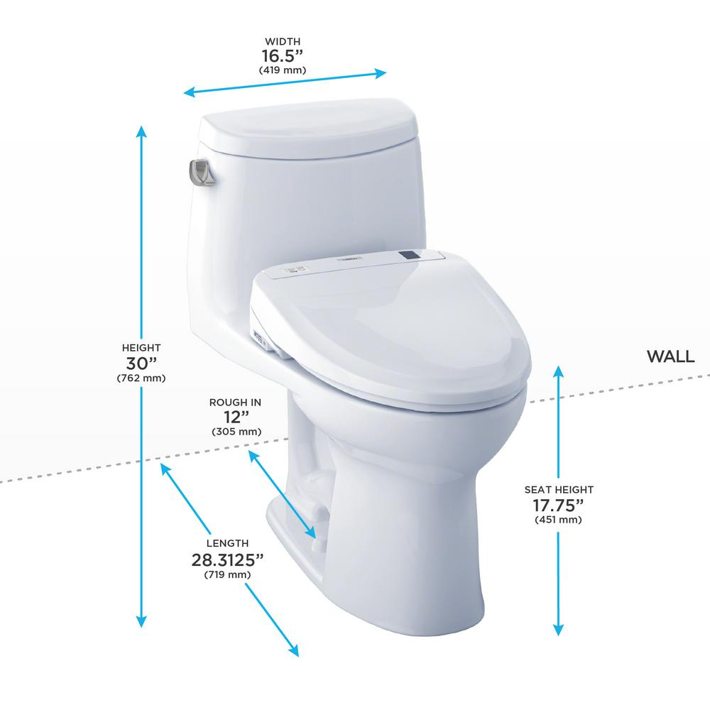 Toto Ultramax Ii Connect 1 Piece 1 28 Gpf Elongated Toilet With Washlet S350e Bidet And Cefiontect In Cotton White Mw604584cefg 01 The Home Depot